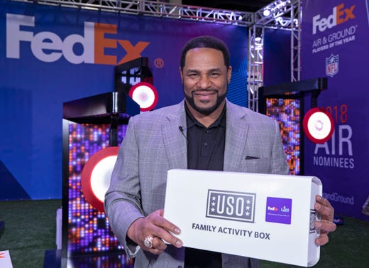 Jerome Bettis, Pro Football Hall of Famer and Super Bowl XL Champion, joined FedEx and the USO to assemble Family Activity Boxes for military families across the country, during a visit to the FedEx Air & Ground Challenge at the Super Bowl Experience Driven by Hyundai on Tuesday, Jan. 29, 2019 in Atlanta.