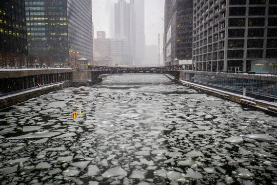 The Chicago River is full of ice, with more cold weather on the way.
