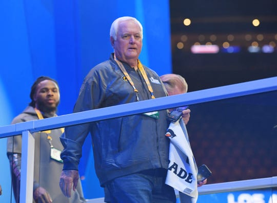 Rams defensive coordinator Wade Phillips arrives during Opening Night for Super Bowl LIII at State Farm Arena.