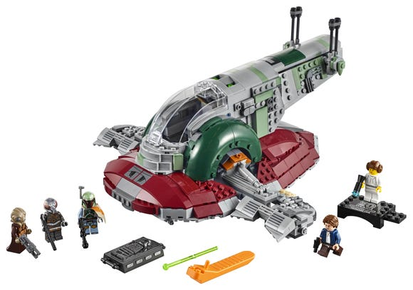 Boba Fett's Slave I personal starship comes with a Hans Solo action figure and a Princess Leia collectible.
