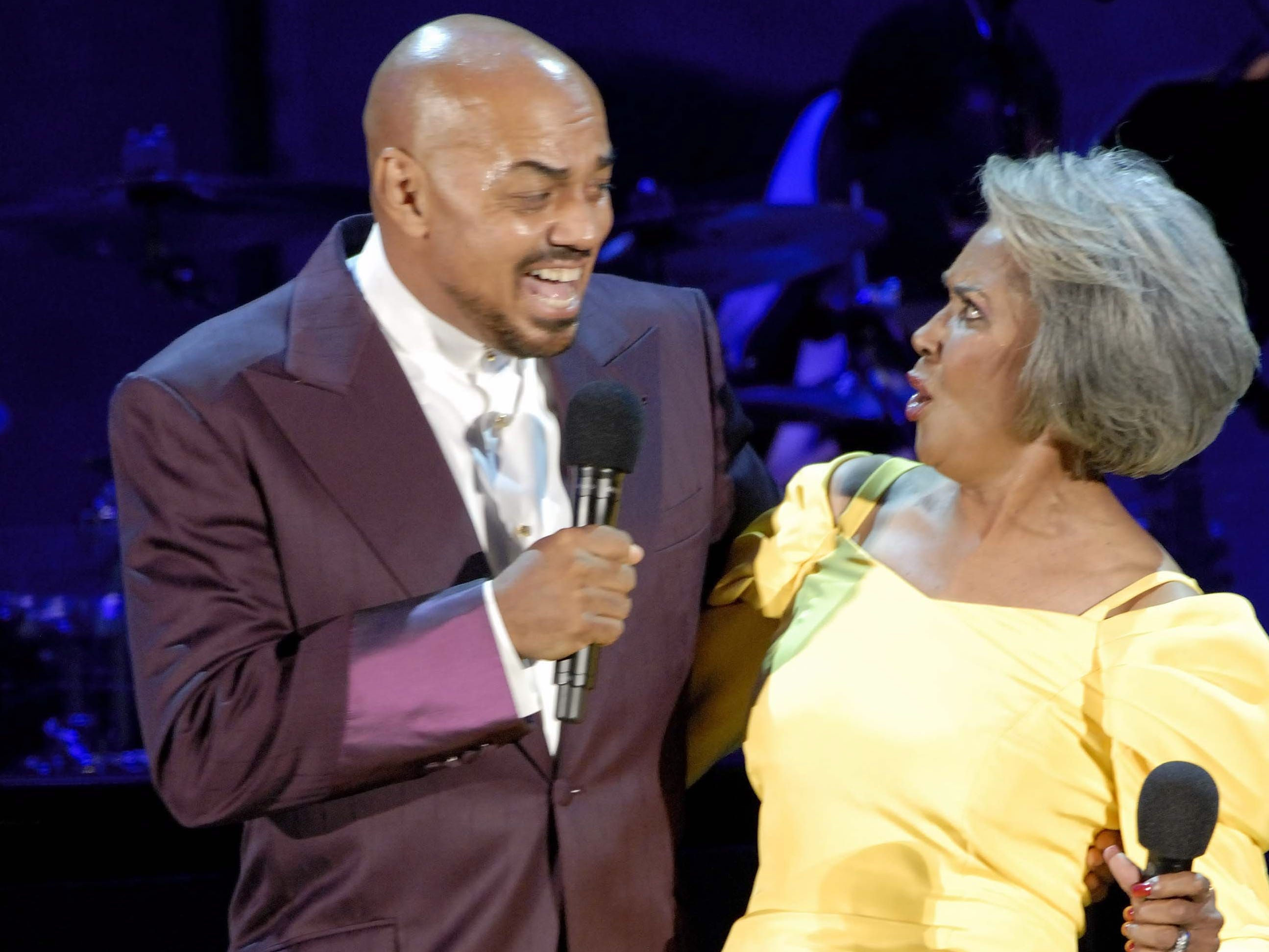 """James Ingram sings to his friend Nancy Wilson as she celebrates her """"70th Birthday Celebration"""" held at the Hollywood Bowl in Los Angeles, August 29, 2007."""