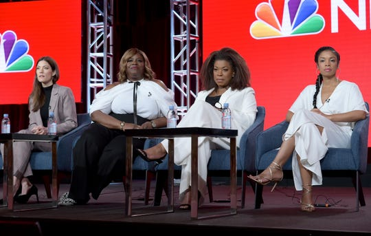 Jennifer Carpenter ( left), Retta, Lorraine Toussaint and Susan Kelechi Watson discuss their shows, and the impact of the #MeToo movement, at the Television Critics Association in Pasadena, Calif.