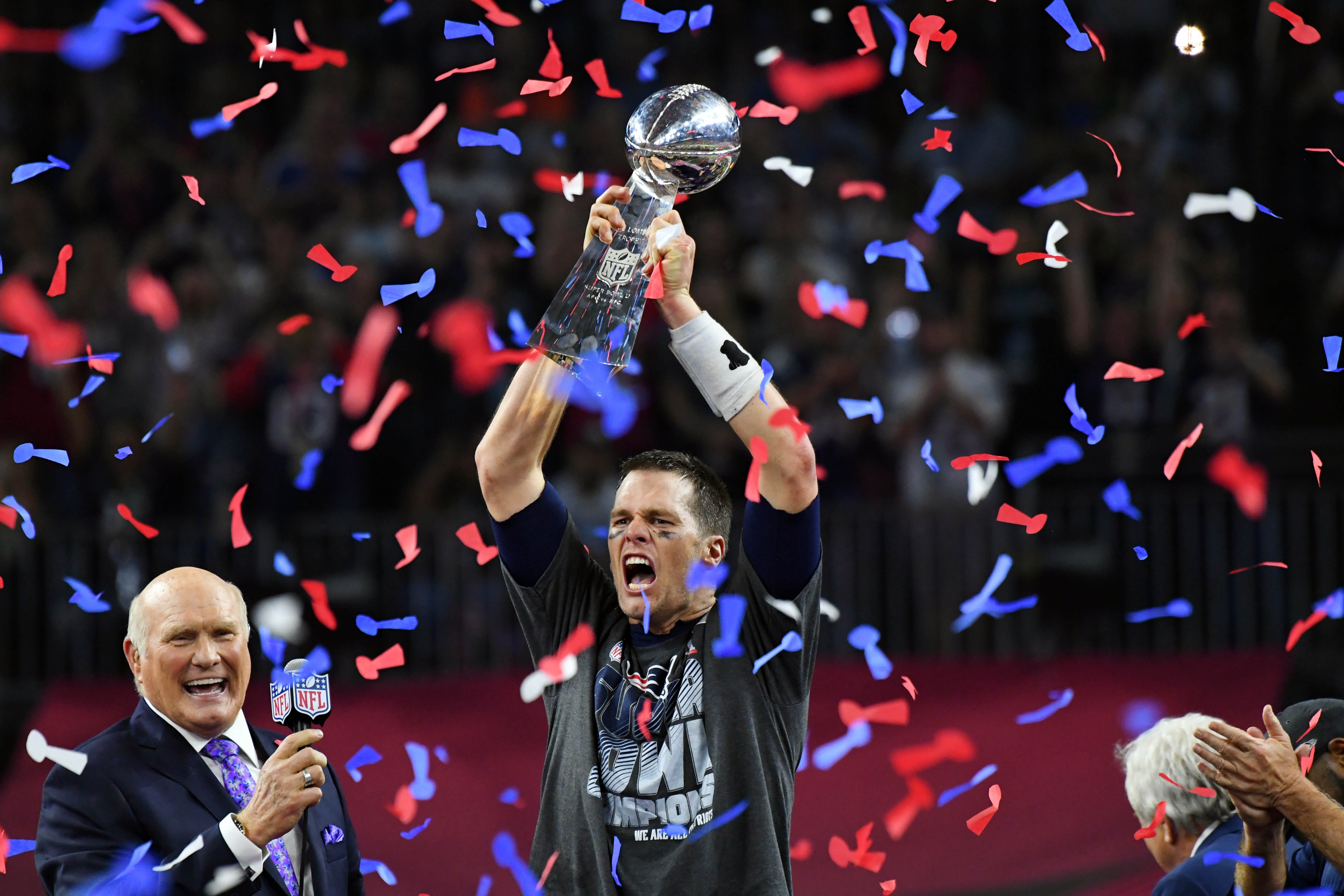 Tom Brady celebrates victory in Super Bowl LI.