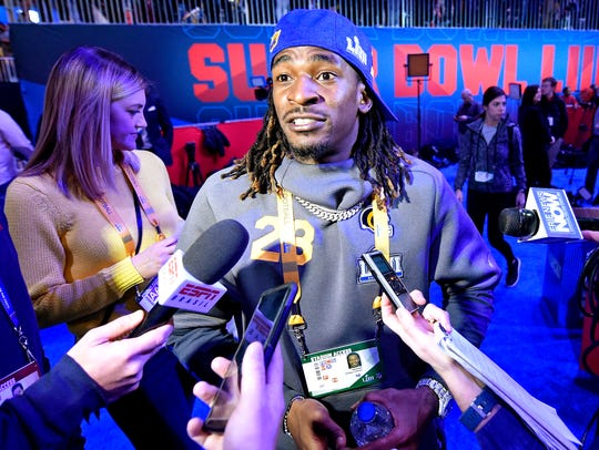Nickell Robey-Coleman meets with reporters during Opening Night.