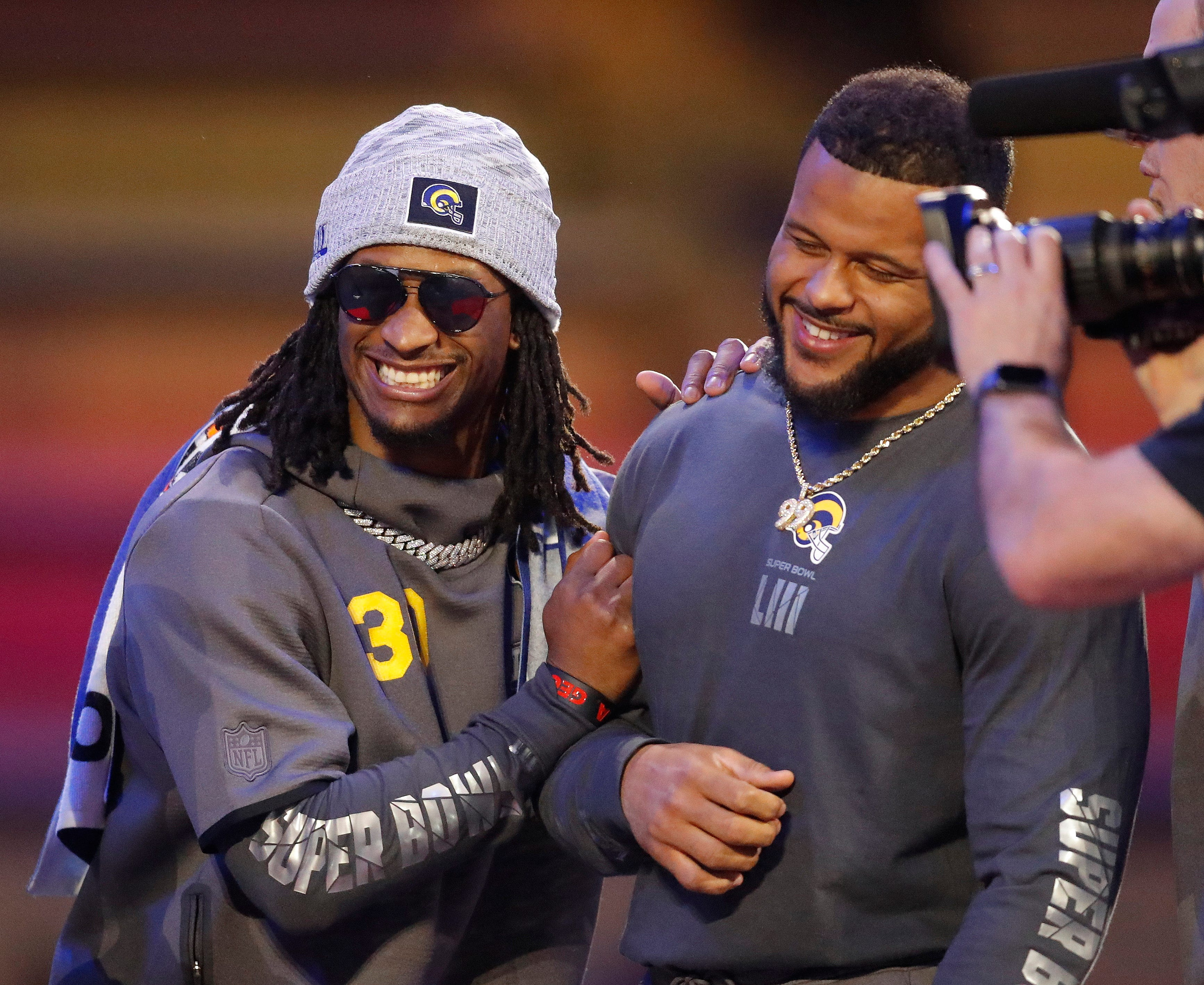 The Los Angeles Rams' Aaron Donald and Todd Gurley have some fun during Opening Night.