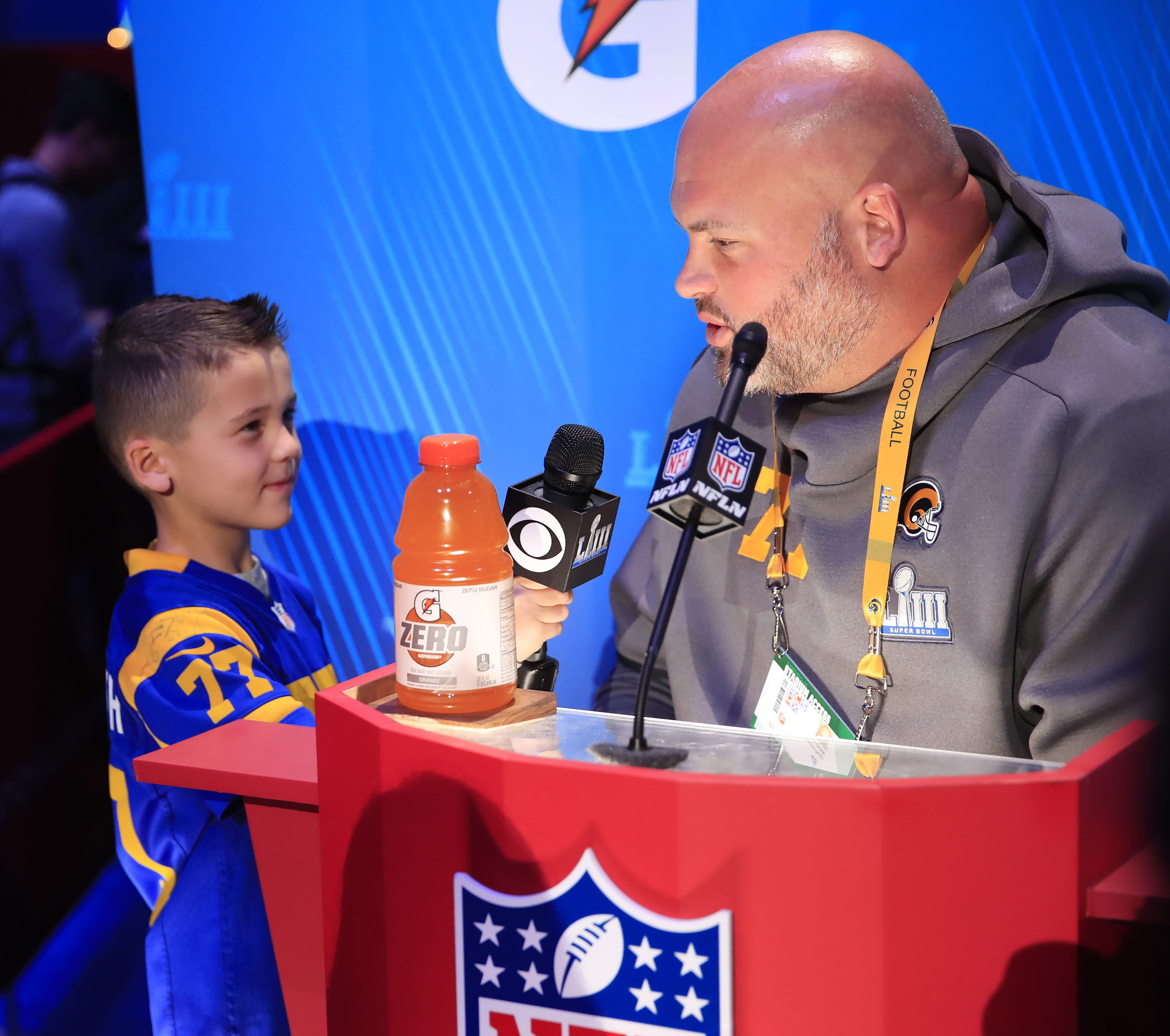 Rams offensive tackle Andrew Whitworth is interviewed by his son during Opening Night.