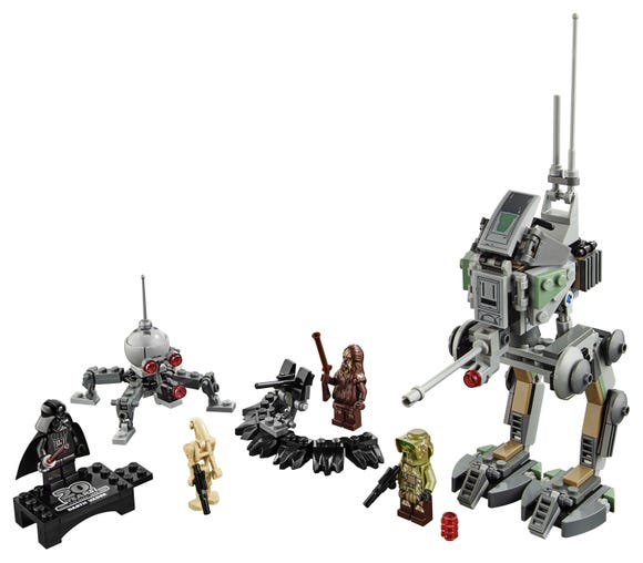 The Clone Scout Walker and Dwarf Spider droid includes a collectible Darth Vader figure.