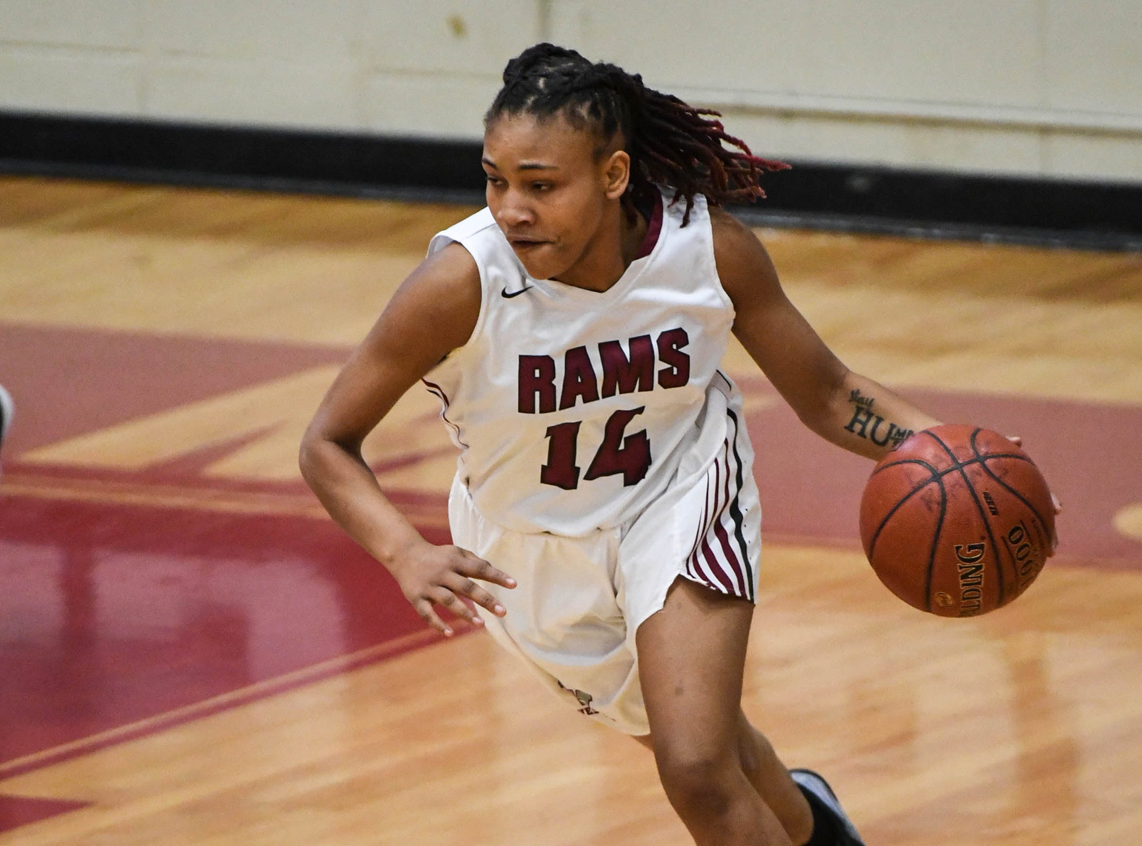 Westside junior Tatyana Lewis(14) dribbles during the first quarter at Westside High School in Anderson on Tuesday.