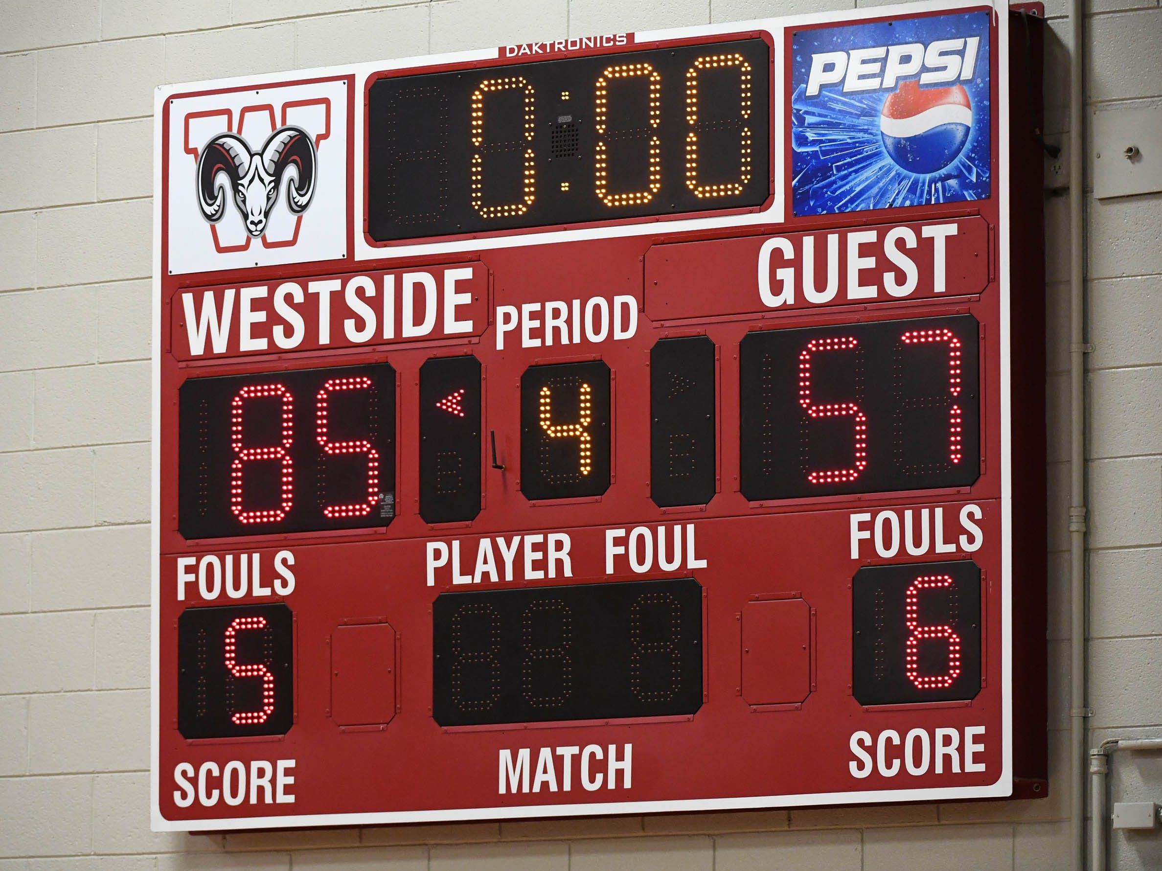 The scoreboard at the Westside High School gymnasium shows a final from earlier this year.