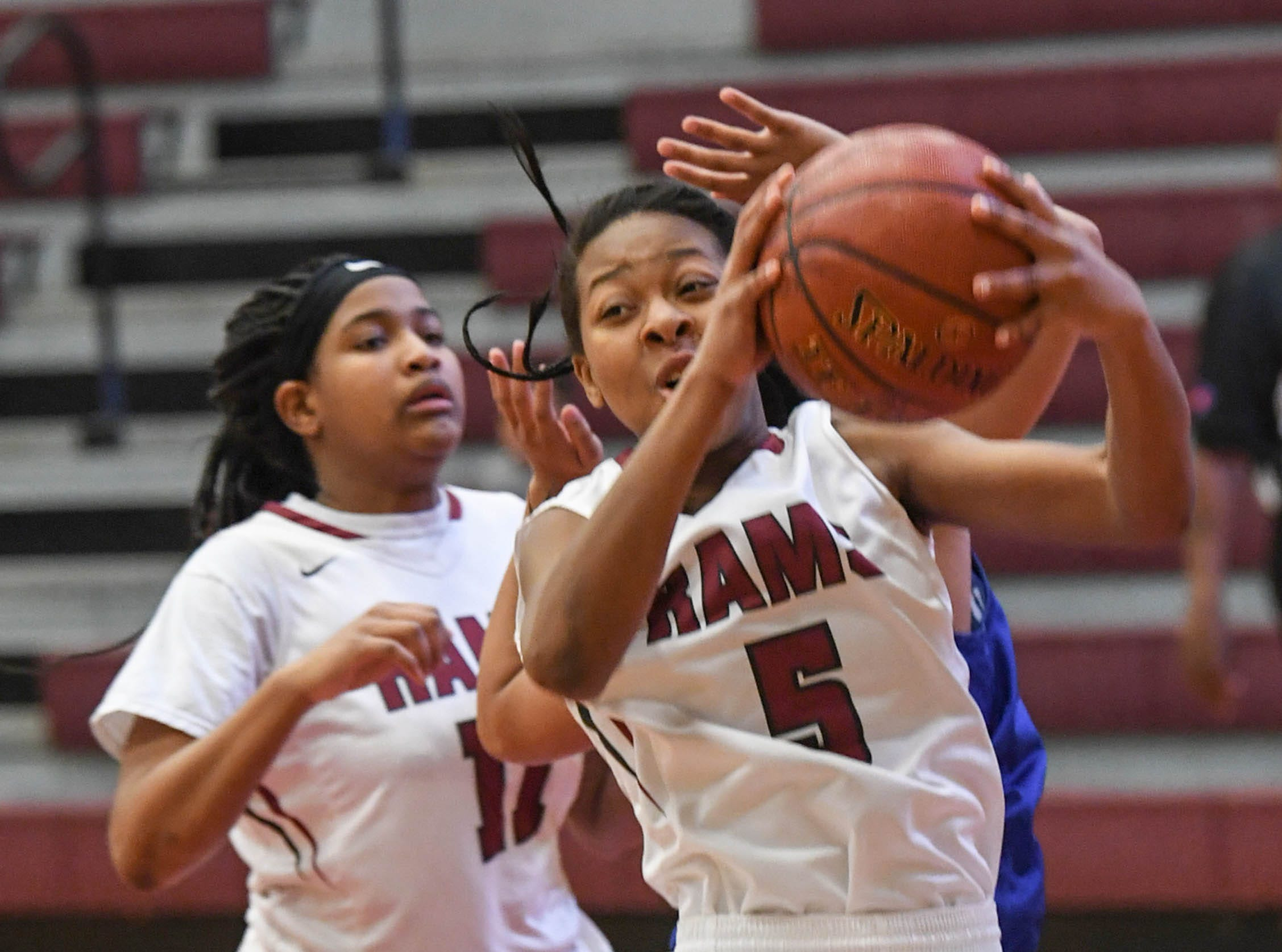 Westside senior Chelsea Adger(5) rebounds during the first quarter at Westside High School in Anderson on Tuesday.