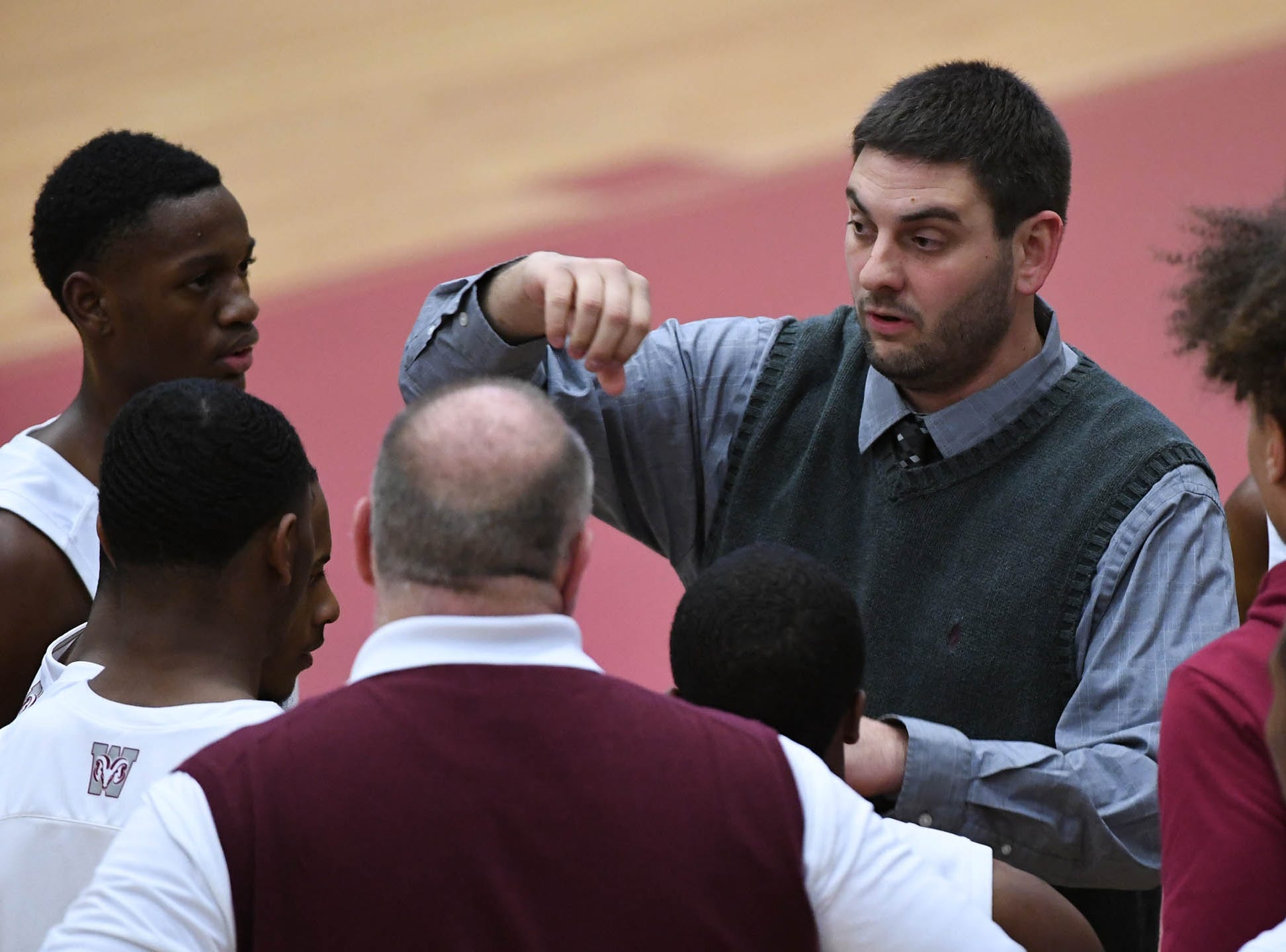 Westside coach Nick Agnello talks to players during the first quarter at Westside High School in Anderson on Tuesday.
