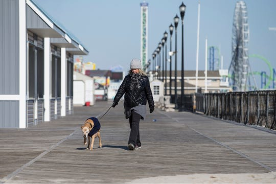 Cold weather moves into the area with temperatures plummeting into the single digits and wind chills reaching below zero. Lori Turso walks her dog Jenksy along the boardwalk before the cold air moves in.         
