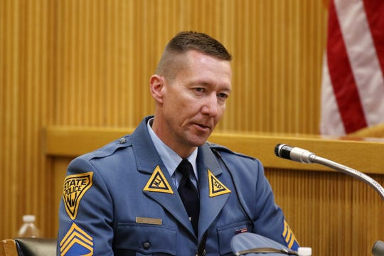 New Jersey State Police Sgt. Pete Pfeifer testifies during the trial of Liam McAtasney, who is charged with the murder of former high school classmate, Sarah Stern, before Superior Court Judge Richard W. English at the Monmouth County Courthouse in Freehold, NJ Wednesday January 30, 2019.