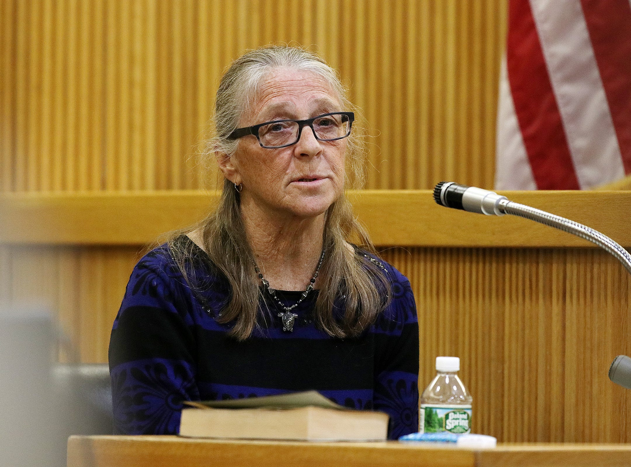 Linda Stitely, Sarah Stern's aunt, testifies during the trial of Liam McAtasney, who is charged with the murder of former high school classmate, Sarah Stern, before Superior Court Judge Richard W. English at the Monmouth County Courthouse in Freehold, NJ Wednesday January 30, 2019.
