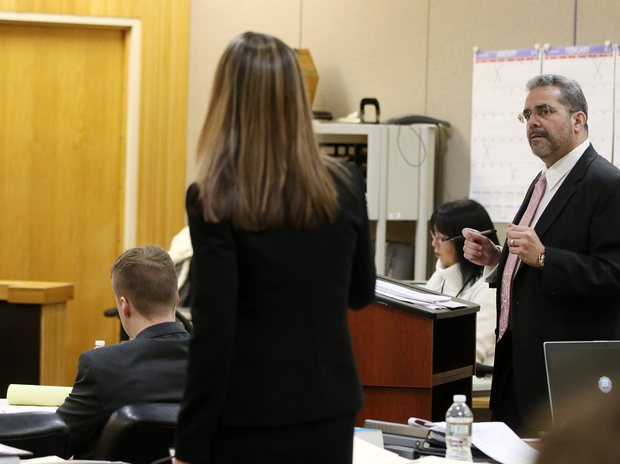 Defense attorney Carlos Diaz-Cobo questions a witness as Meghan Doyle, assistant Monmouth County prosecutor, objects to a question during the trial of Liam McAtasney, who is charged with the murder of former high school classmate, Sarah Stern, before Superior Court Judge Richard W. English at the Monmouth County Courthouse in Freehold, NJ Wednesday January 30, 2019.
