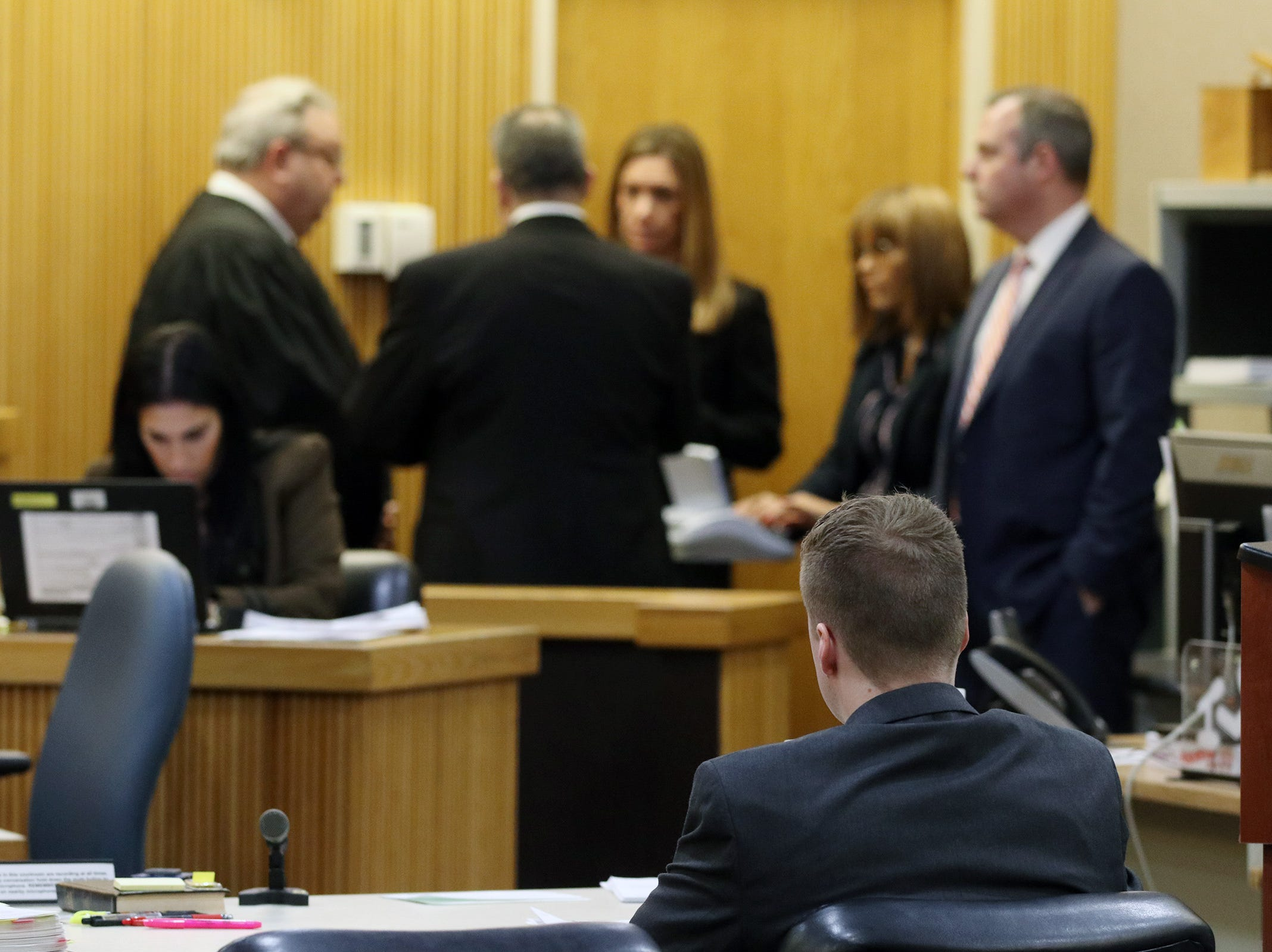 A sidebar is requested during the trial of Liam McAtasney, who is charged with the murder of former high school classmate, Sarah Stern, before Superior Court Judge Richard W. English at the Monmouth County Courthouse in Freehold, NJ Wednesday January 30, 2019.