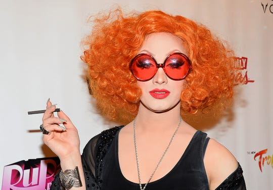 """""""RuPaul's Drag Race"""" season five winner Jinkx Monsoon arrives at a viewing party for the show's season six finale at the New Tropicana Las Vegas on May 19, 2014 in Las Vegas."""