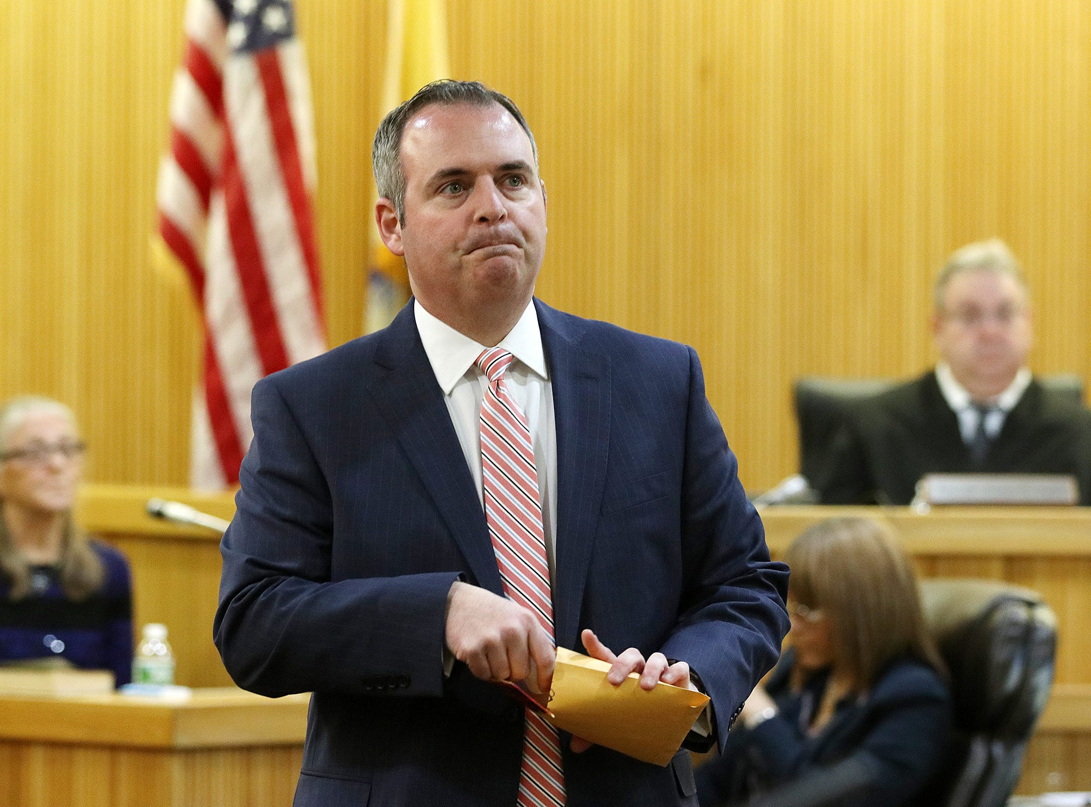 Christopher Decker, Monmouth County assistant prosecutor, shows keys found in Sarah Stern's bedroom by Linda Stitely, Sarah Stern's aunt, as she testifies during the trial of Liam McAtasney, who is charged with the murder of former high school classmate, Sarah Stern, before Superior Court Judge Richard W. English at the Monmouth County Courthouse in Freehold, NJ Wednesday January 30, 2019.
