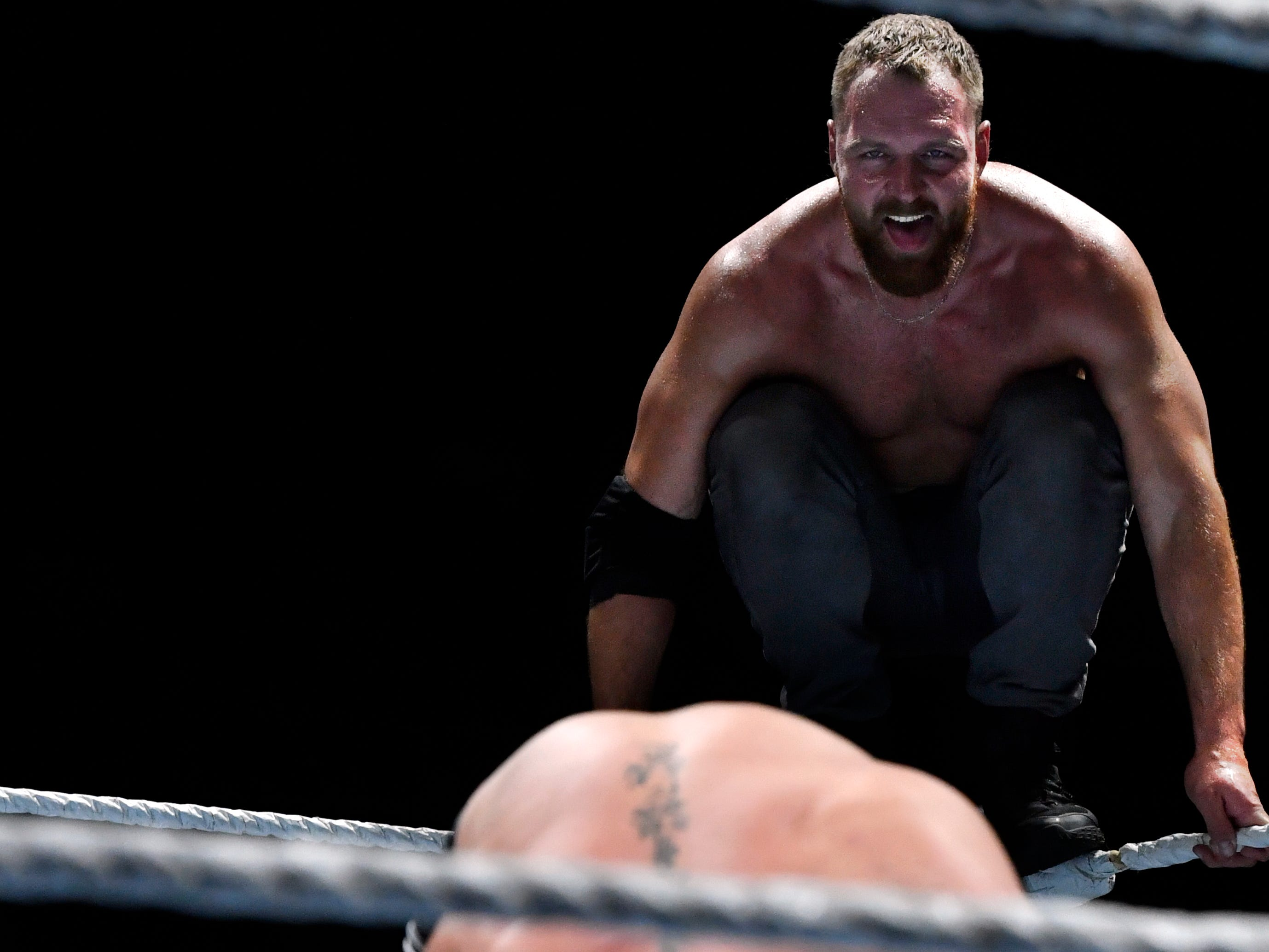 Dean Ambrose prepares to leap onto Seth Rollins from the top of the ropes during Saturday's WWE Live wrestling event Jan. 19, 2019. Held at the Taylor County Coliseum, the evening featured a colorful array of World Wrestling Entertainment stars.
