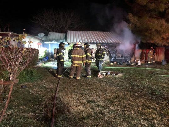 Sweetwater firefighters on the scene of a fire in the 2400 block of Bristol Drive on Wednesday.
