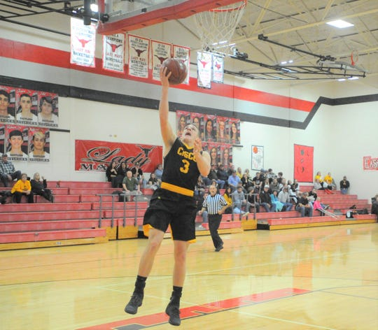 Cisco's Gibson Hearne lays it up Tuesday, Jan. 29, 2019, against Eastland.