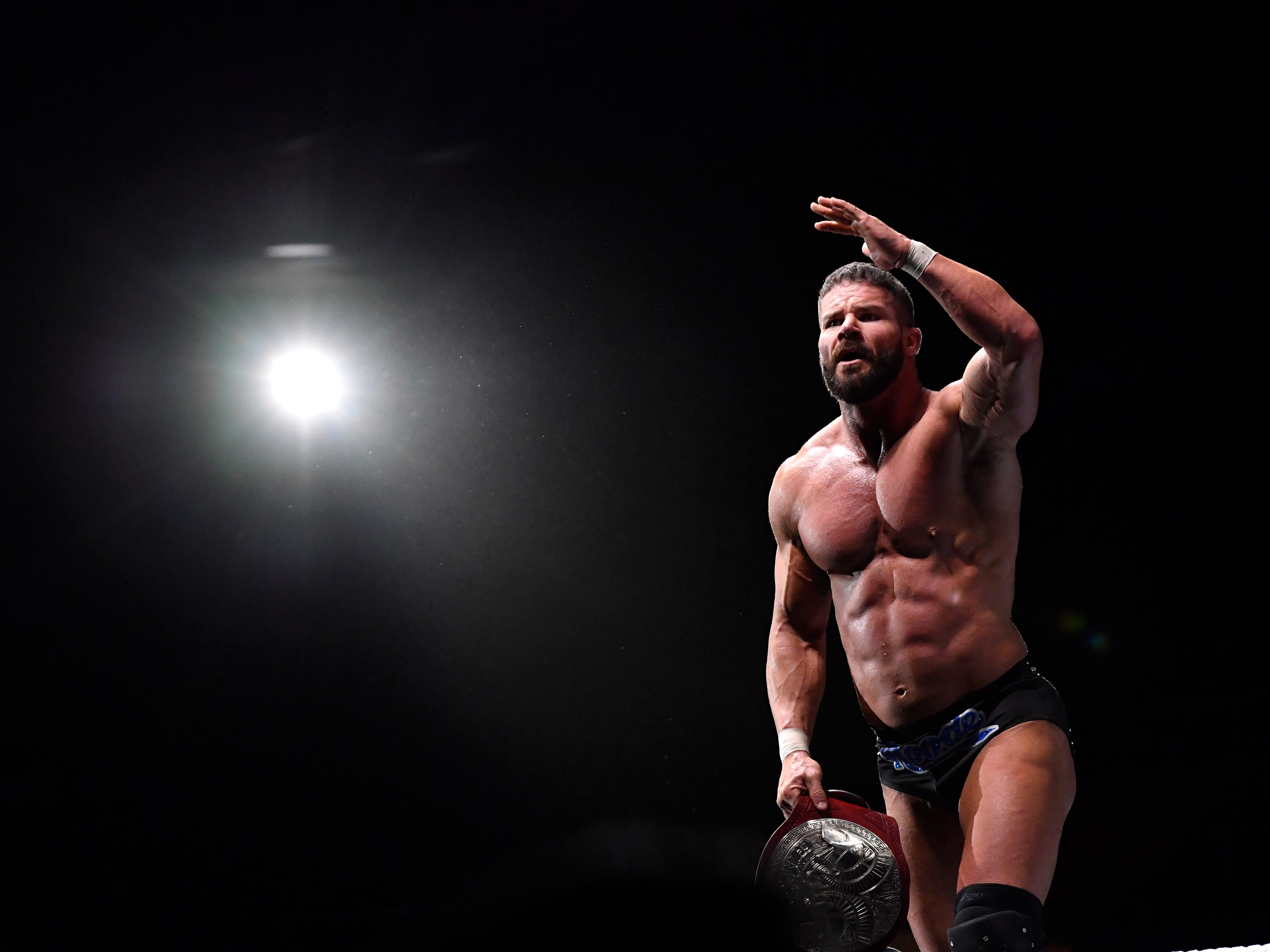 Bobby Roode stands on the ropes after he and partner Chad Gable won their tag team match during Saturday's WWE Live wrestling event Jan. 19, 2019. Held at the Taylor County Coliseum, the evening featured a colorful array of World Wrestling Entertainment stars.