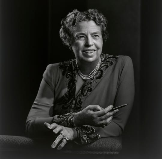 "A portrait of Eleanor Roosevelt is featured in ""Yousuf Karsh: American Portraits."" The exhibition, from the Smithsonian's National Portrait Gallery, will be on display at the Rockwell Museum in Corning from Feb. 5-May 5."