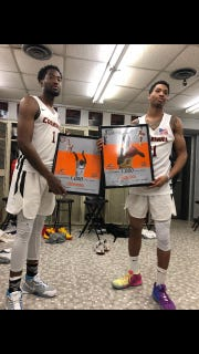 1,000-point club members: Anthony McNeil (left) and Dashown Nelson.