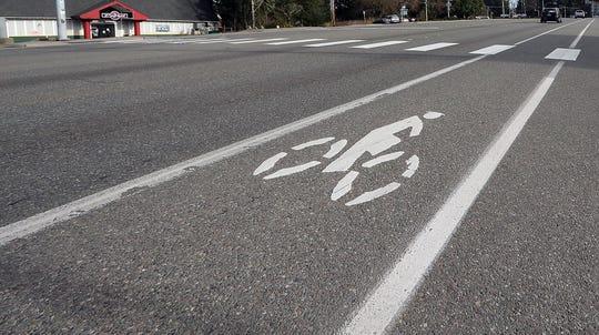 The bike lane along Kitsap Way in Bremerton on Wednesday, January 30, 2019.