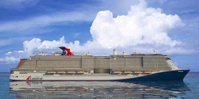 An artist's rendering of Carnival Cruise Line's giant new ship, the Mardi Gras, which will begin sailing from Port Canaveral in November 2020, with a range of seven-day Eastern and Western Caribbean cruises.