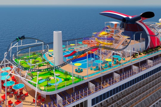 The Ultimate Playground on the Carnival Mardi Gras will include the largest and most elaborate Carnival WaterWorks aqua park in the fleet, as well as an expanded SportSquare. It also will feature BOLT: Ultimate Sea Coaster, the first roller coaster at sea.