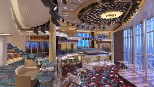 Carnival Cruise Line's giant new ship, the Mardi Gras, have an atrium that will serve as the hub of the ship.