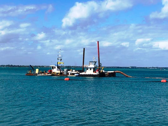 Ferreira Construction's dredge Lori Hill is operational and positioned over the 42-acre sand trap west of Sebastian Inlet as part of Sebastian Inlet District's periodic dredging, channel maintenance and beach renourishment project that's expected to run through April.
