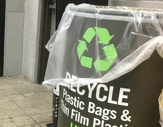 A plastic bag collection barrel for shoppers sits near the entrance to Price Chopper's Market 32 on Shelburne Road in Burlington on Friday, Jan. 25, 2019.