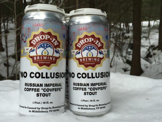 """Drop-In Brewing Co. sells """"No Collusion"""" Russian Imperial Coffee """"Covfefe"""" Stout in four-packs of cans."""