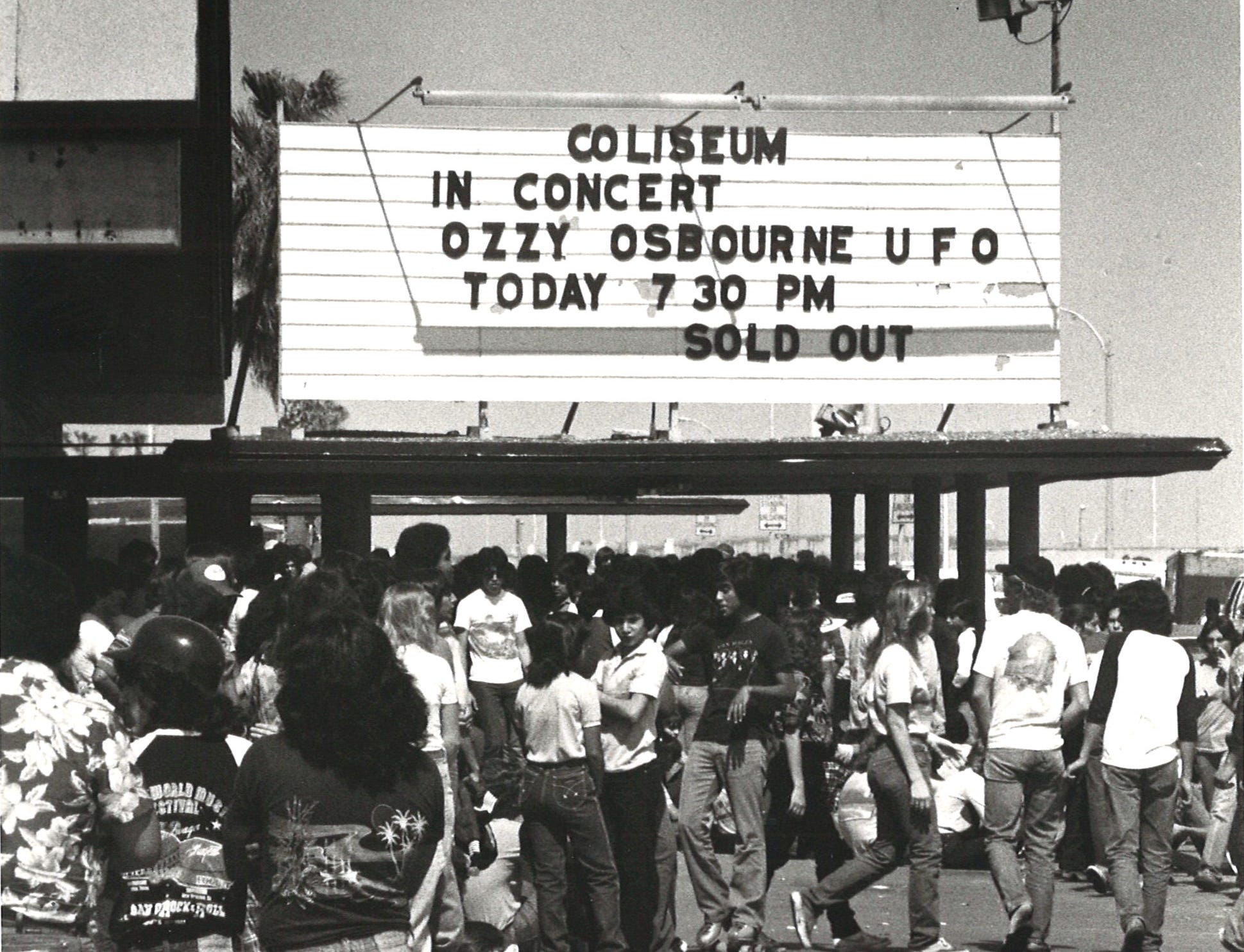 Hundreds of people wait in line for the Ozzy Osbourne concert at Memorial Coliseum in Corpus Christi in February 1982.