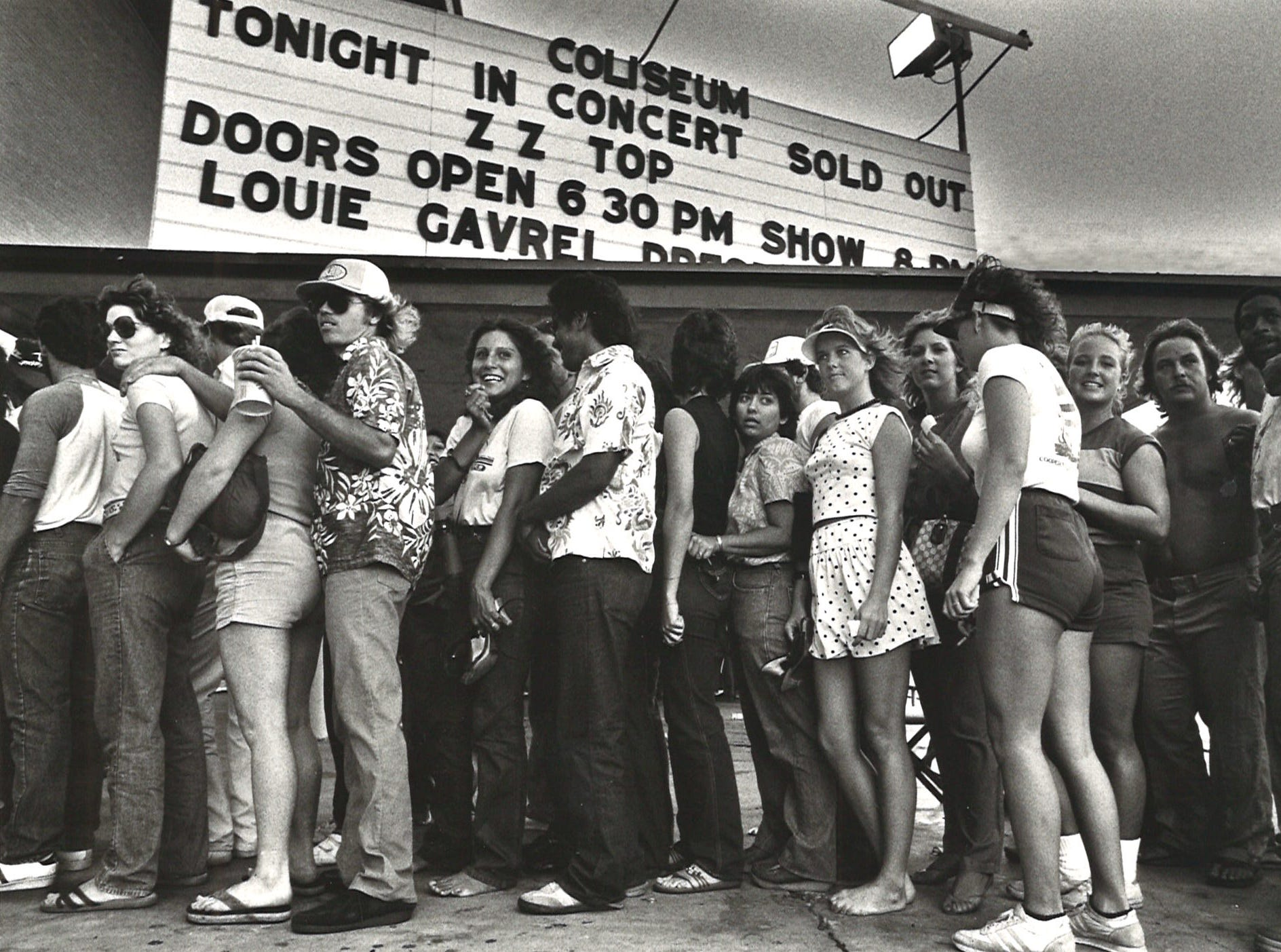 The crowd waits in line for the ZZ Top concert at Memorial Coliseum in Corpus Christi on Oct. 4, 1983.