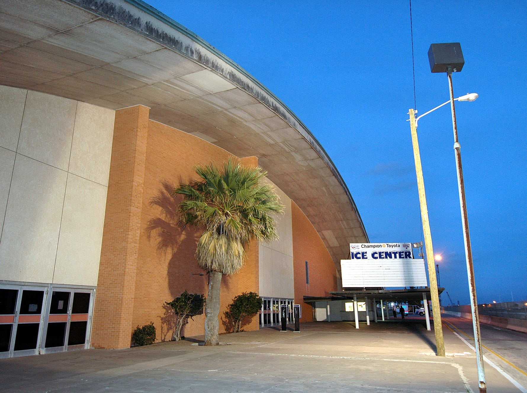 This view is of the east end of Memorial Coliseum after sunset with a little twilight left in the sky on Jan. 31, 2006.