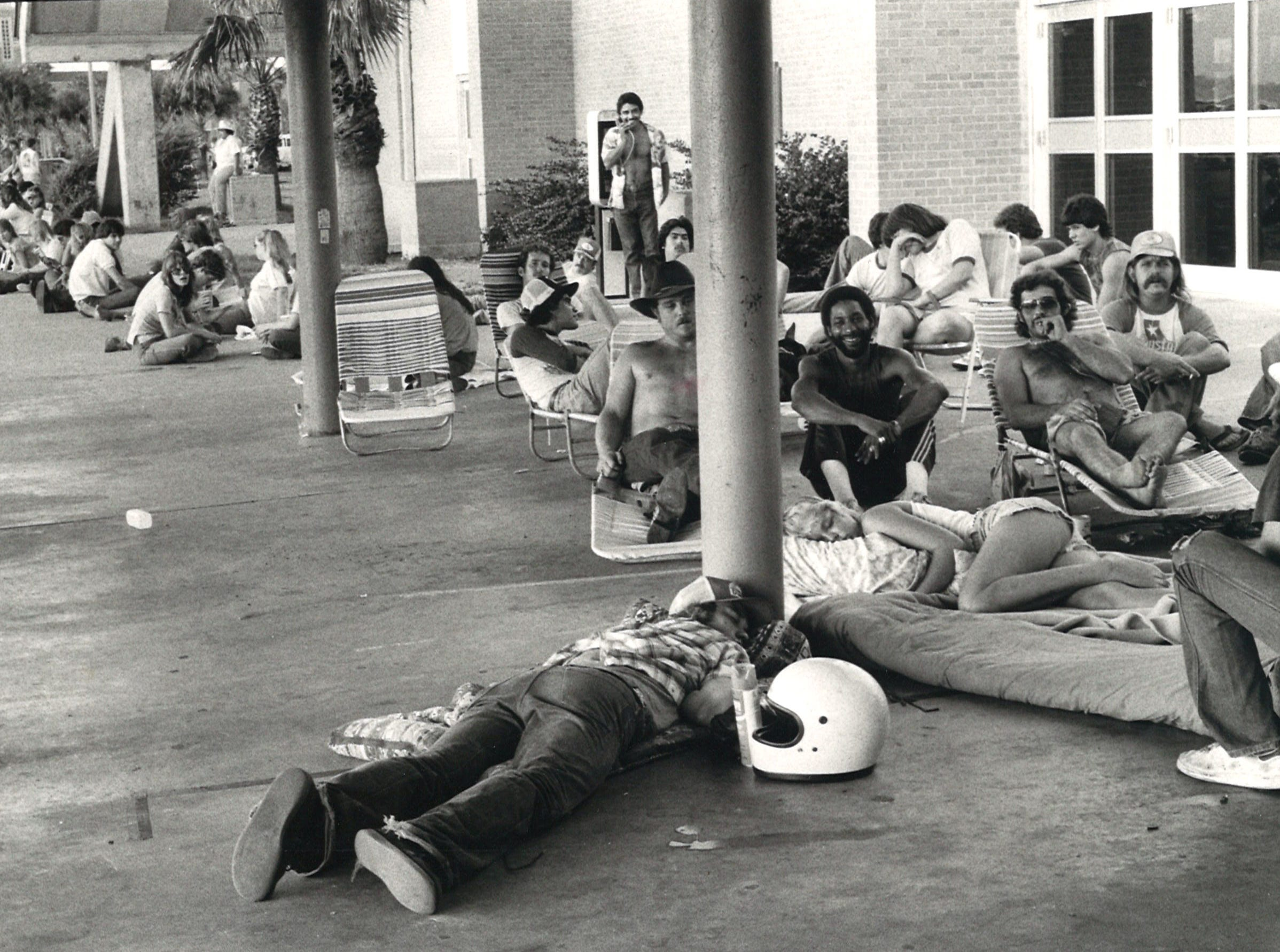Early birds at Corpus Christi's Memorial Coliseum wait for the tickets for the ZZ Top concert to go on sale on Sept. 20, 1983.