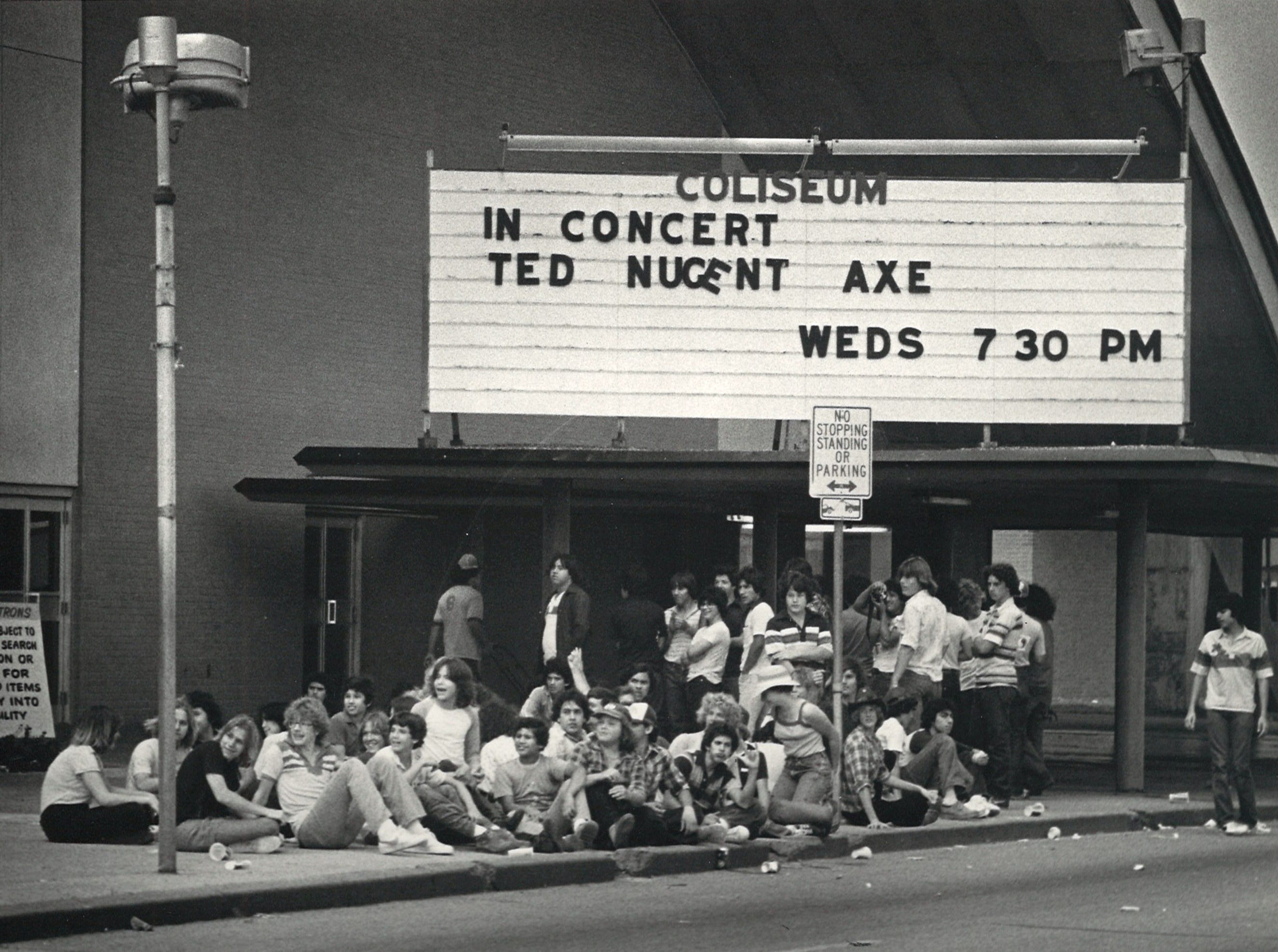 Concertgoers line up for tickets to see Ted Nugent and Axe at Memorial Coliseum in April 1980.