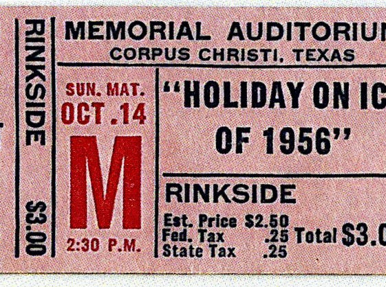 A ticket for the Holiday on Ice revue that played at Memorial Coliseum in October 1956. The Jaycees and the Junior Chamber of Commerce sponsored the event. The 'Holiday on Ice' shows were the first events held at the coliseum after its dedication in August 1954.