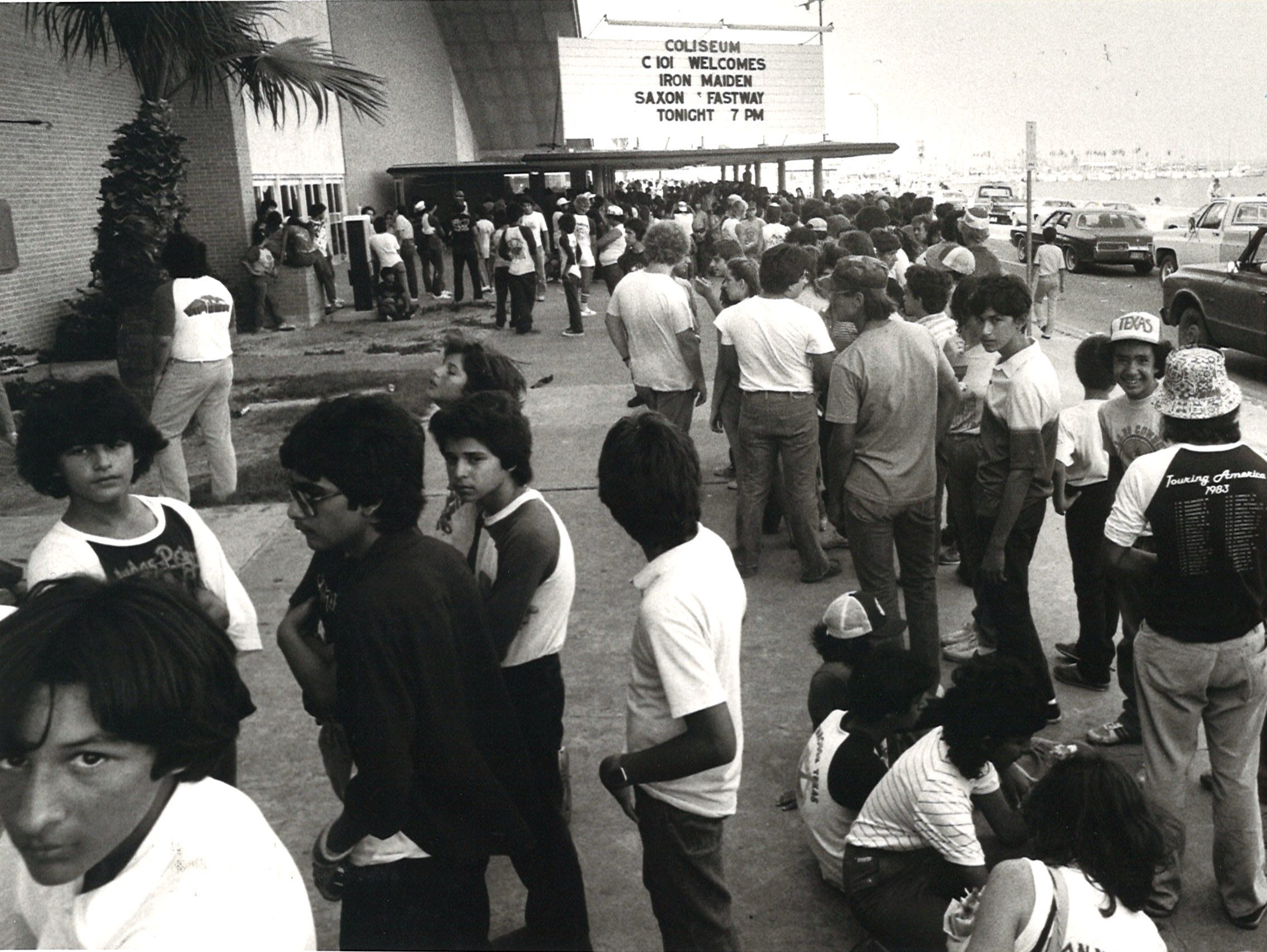 A crowd gathers before the C101 Iron Maiden concert featuring Saxon and Fastway on July 26, 1983 at Memorial Coliseum in Corpus Christi.
