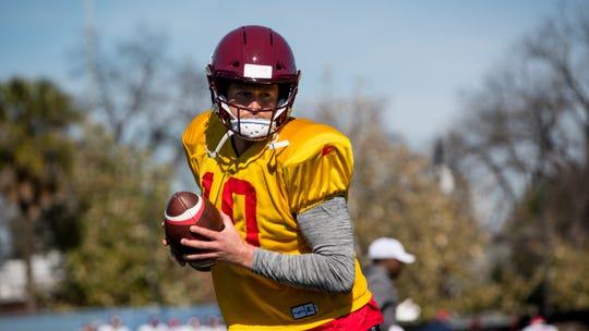 San Antonio Commanders quarterback Dustin Vaughan, a Calallen graduate, practices during training camp Monday, January 21, 2019 in San Antonio.