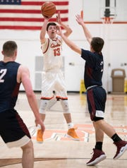 Cherokee's Anthony DiCaro takes a shot during the 1st quarter of the boys basketball game between Cherokee and Eastern played at Cherokee High School on Tuesday, January 29, 2019.  Cherokee defeated Eastern, 56-52.