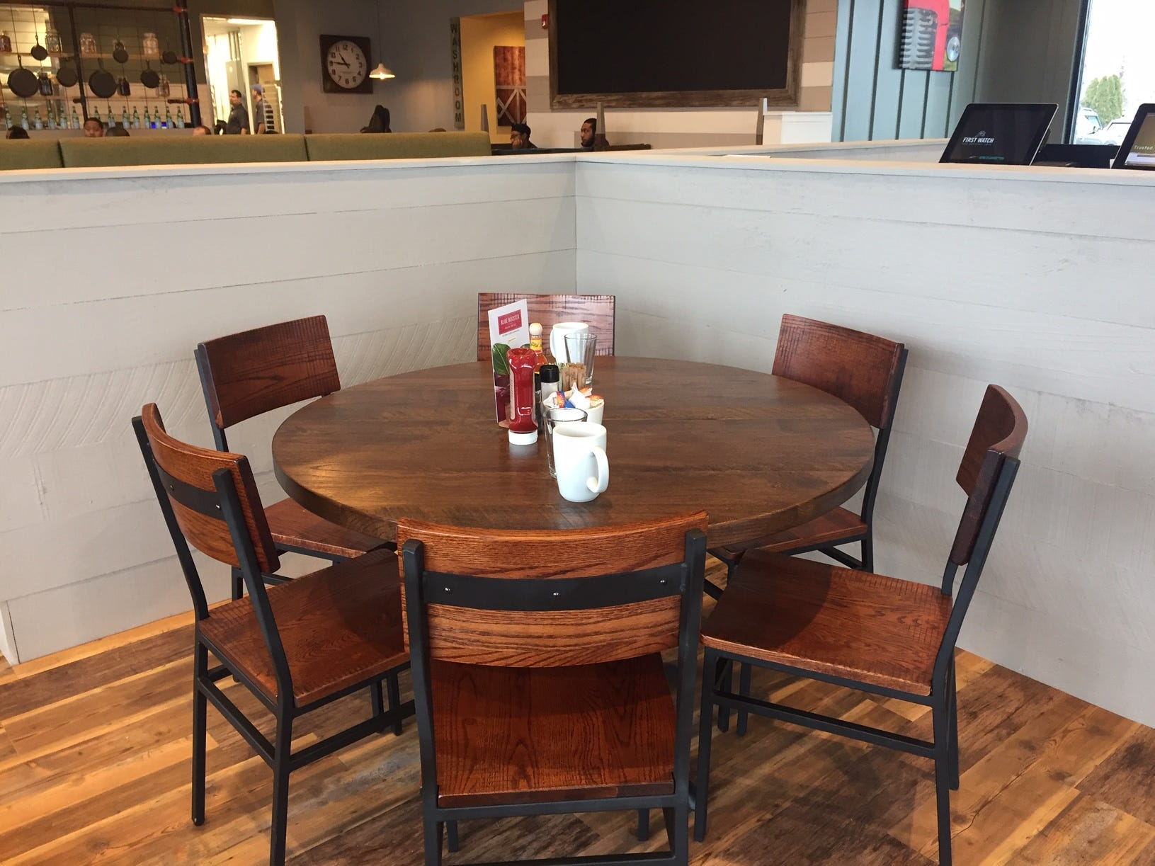 A round table provides a private spot for families or groups meeting up for brunch at First Watch in Cherry Hill.