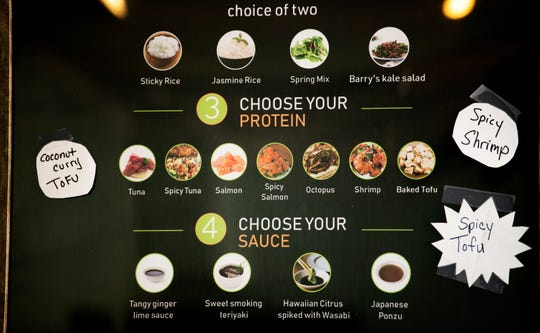 The menu is displayed in Aloha Poke Bowl in Collingswood.