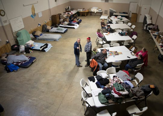 Inflatable beds, clothing, and food are all available at the Jefferson Avenue Church of Christ in Christian Union to help local homeless people during the subzero temperatures affecting Chillicothe and plaguing the nation on Jan. 30, 2019.