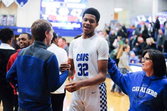 Chillicothe's Jayvon Maughmer celebrates after a 52-47 win over Logan during the 2018-19 season at Chillicothe High School in Chillicothe, Ohio.