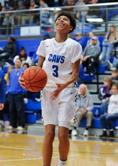 Chillicothe guard Tre Beard does layup lines prior to a 52-47 win over Logan during the 2018-19 season at Chillicothe High School in Chillicothe, Ohio.