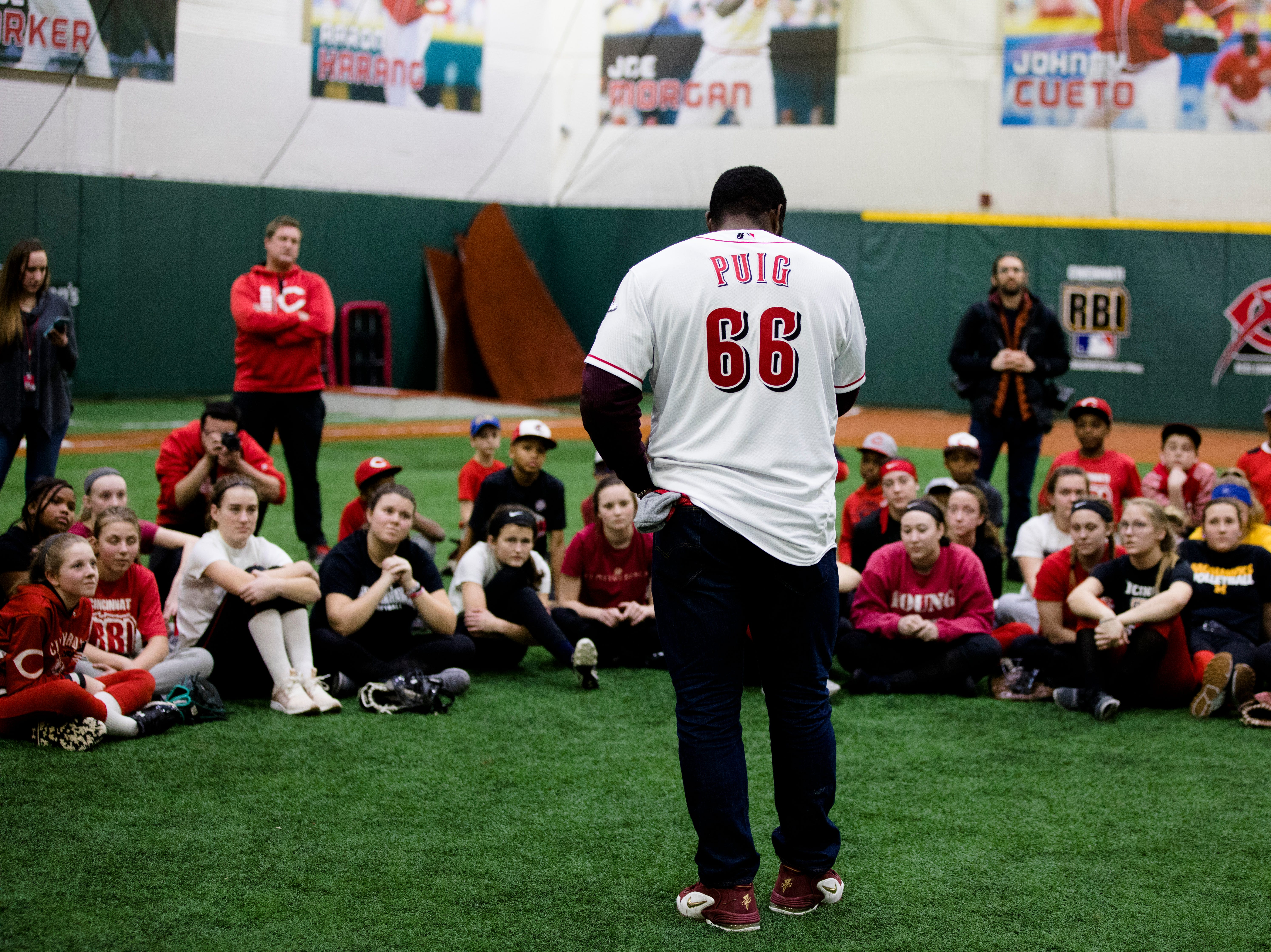 Yasiel Puig, who has been traded to the Cincinnati Reds from the LA Dodgers, speaks to young athletes at the P&G MLB Cincinnati Reds Youth Academy on Wednesday, Jan. 30, 2019.